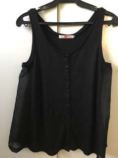 Black Tank Top with Side Detail