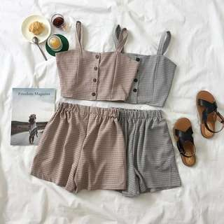 [PO] Gingham Coordinate Set: Button Up Cami & Elasticised Shorts