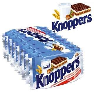 🚚 Knoppers德国牛奶榛子巧克力威化饼干8片