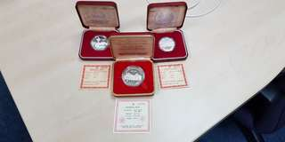 3 x Singapore Mint Silver Proof Coin