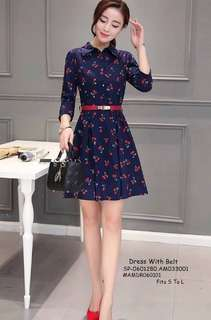 DRESS WITH BELT Fits S To L  Price : 450