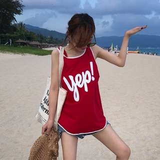 Minimei追加款✪韓系韓版歐美風百搭休閒 寬鬆百搭字母印花無袖休閒運動背心顯瘦吊帶T恤上衣