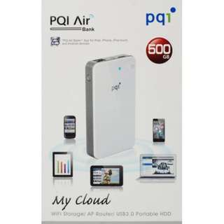 PQI Air Bank – The World's First Portable Wireless Hard Drive Personal Cloud Technology (500GB / White)