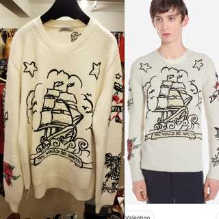 Men Valentino white knit with pattern sweater size L