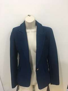 Women's navy dress blazer jacket with gold buttons