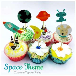 🚀 SPACE • UNIVERSE THEME CUPCAKE TOPPER PICKS [Rocket • Spaceship • Earth • Moon • Astronaut • Alien]