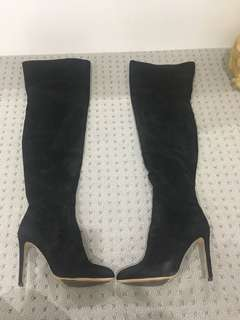 Tony Bianco black suede leather thigh high boots