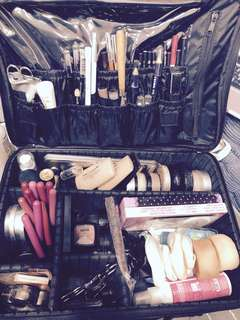 Professional makeup and hair artist set