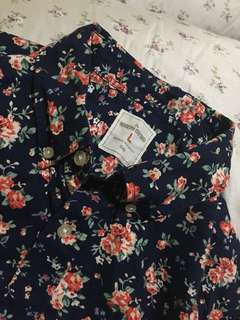 AUTHENTIC Gap Floral Ladies Long Sleeves— Polo Blouse—PLUS SIZE
