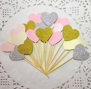 10 pc Glitter Hearts Cupcake Topper Happy Birthday Cake Bunting Party Decoration Decor Toppers