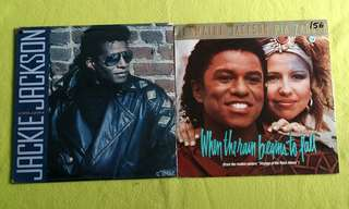 JACKIE JACKSON ● JERMAINE JACKSON & PIA ZADORA . cruzin / when the rain begins to fall. ( buy 1 get 1 free )  vinyl record