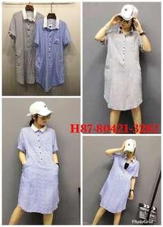 🚚 🍀半開襟條紋長版T 顏色:灰條.藍條。材質:薄料絲棉 尺寸:穿XL內 胸51長101