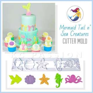 🧜‍♀️ MERMAID n' SEA CREATURES CUTTER MOLD TOOL [ Fish • Clam  Starfish • Seahorse • Octopus • Mermaid Tail ] Cake Decorating Tool for Cookies • Fondant Cake & Cupcake • Bread Dough • Pastry • Sugar Craft • Jelly • Gum Paste • Polymer Clay Art Craft •