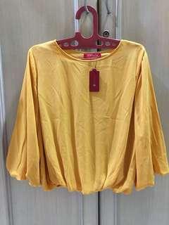 Theory X blouse shirt blus atasan sifon warna kuning