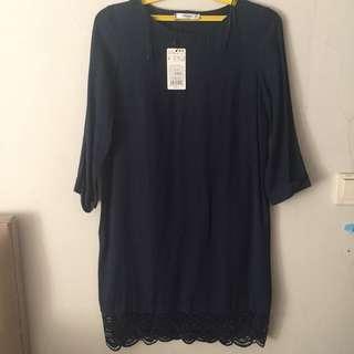Mango suit dress s navy blue color
