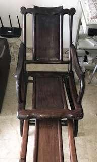 Antique Wooden Chair with Legrest