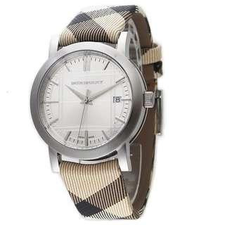 Burberry Watch 38mm Ladies Check Engraved Calfskin Strap, White Dial BU1390