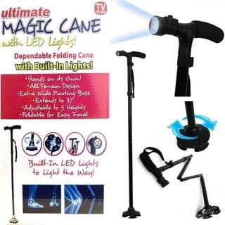 Flashlight + ULTIMATE MAGIC CANE Adjustable Folding & Extendable Walking Stick + LED Lights- NEW