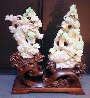 "Burmese Jade Displace Item 天然翡翠摆件 ""飞黄腾达"""