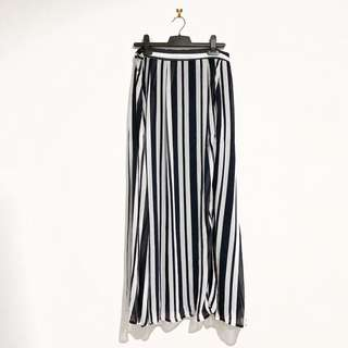 (10) Peter Morrissey Striped Maxi Skirt with Slit