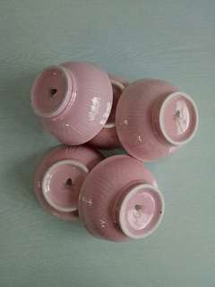 Unused mint condition pink porcelain bowls height 6cm diameter 12.5cm 5prices $15
