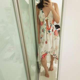 NEW Floral Front Knot Fishtail Maxi Dress