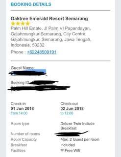 Voucher menginap Oaktree Emerald Resort Semarang