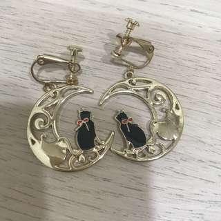 🚚 (全新)日系 月下的萌貓 軟萌甜美月 亮貓咪耳環耳夾