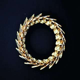 古董鍍金羽毛設計手鐲 Antique Gold-plated Feather-designed Bracelet