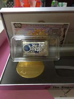 Singapore $25 Orchid Note Silver Proof Ingot