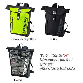 "Taichi Design ""A"" Waterproof bag $30/-"