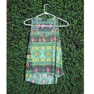 Neon Green Tribal Patterned Top