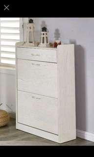 2.1尺白木紋二門一抽掀式鞋櫃