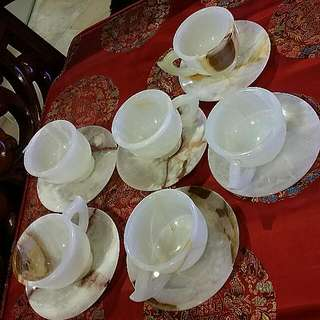 Vintage Marble Teacups And Saucers 12 Pcs