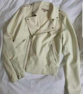 GUESS Biker Leather Jacket (Cream Colour)