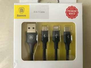 USB-C/Micro USB/Apple lightning 三合一充電線