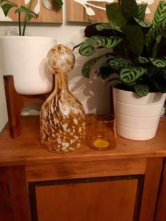 Mid Century Glass Bottle Vase & stopper Home decor styling