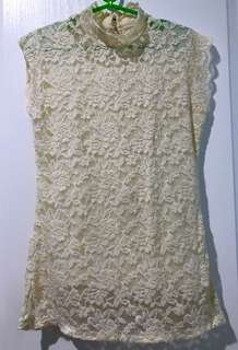 Cream Lacey Top
