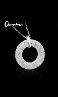 Silver Plated Cubic Zirconial Brand Love circular Shape Pendant Necklaces