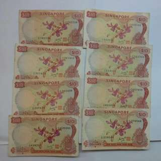 8 Singapore $10 Orchid Goh Keng Swee Notes