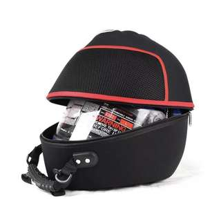 Motorcycle helmet shell bag (Black with red lining)