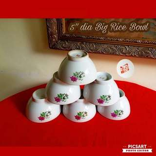 1960s Vintage Porcelain Red & Green Colour Bungah Kangkong Bowls. Large Rice Bowl, just one size larger than normal. 12.75cm dia. Good Condition. 5pcs for $10 Clearance offer, sms 96337309.