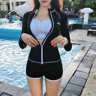 women split zip long-sleeve swimsuit wetsuit/rashguard