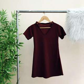 Maroon Choker Dress