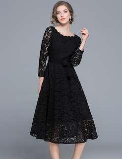 Long-Sleeve: Black Charming Tying Waist Lace A-Line Dress (S / M / L / XL / 2XL) - OA/MKD102409