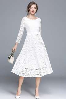 Long-Sleeve: White Charming Tying Waist Lace A-Line Dress (S / M / L / XL / 2XL) - OA/MKD102409