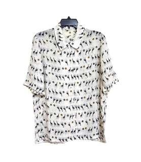 🚚 Vintage 古著巴洛克🦒🦒🦒長頸鹿短袖薄襯衫(平量尺寸cm)