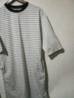 🚚 七分袖條紋長版上衣