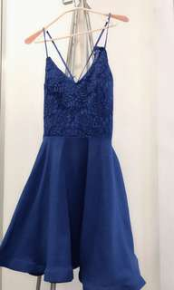 Sapphire Blue French Lace Cocktail Dress