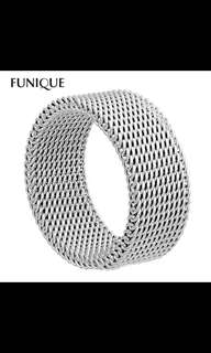 8mm Stainless Steel Wide Thick Mesh Band Ring (1 pc)